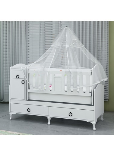 Garaj Home Garaj Home Sude Asansörlü Yıldız 4 Kapaklı Bebek Odası Takımı - Yatak Ve Uyku Seti Kombinli/ Uyku Seti Beyaz Beyaz